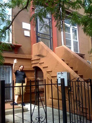 Rob Blatt waving from the apartment